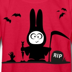 halloween rabbit bat bunny grave horror Kids' Shirts