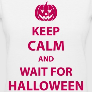 keep calm and wait for halloween Women's T-Shirts - Women's V-Neck T-Shirt