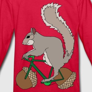 Squirrel on Bike with Accord Wheels Kids' Shirts - Kids' Long Sleeve T-Shirt