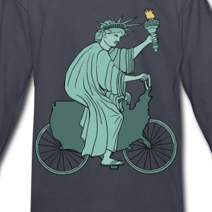 statue of liberty riding USA bike Kids' Shirts - Kids' Long Sleeve T-Shirt