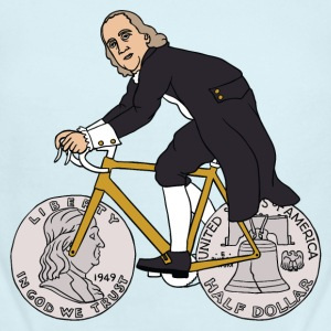 ben franklin on bike with half dollar wheels Baby & Toddler Shirts - Short Sleeve Baby Bodysuit