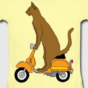 cat on motor scooter Baby & Toddler Shirts - Short Sleeve Baby Bodysuit