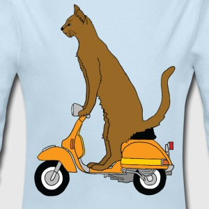 cat on motor scooter Baby & Toddler Shirts - Long Sleeve Baby Bodysuit