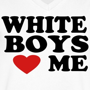 WHITE BOYS LOVE ME - Men's V-Neck T-Shirt by Canvas