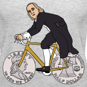 ben franklin on bike with half dollar wheels Tanks - Women's Premium Tank Top