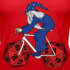 wizard riding bike with 20 sided dice wheels Tanks - Women's Premium Tank Top