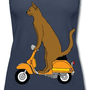 cat on motor scooter Tanks - Women's Premium Tank Top