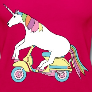 unicorn riding motor scooter Tanks - Women's Premium Tank Top