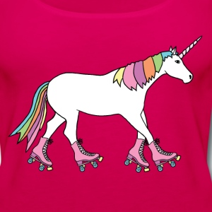 unicorn with roller skates Tanks - Women's Premium Tank Top