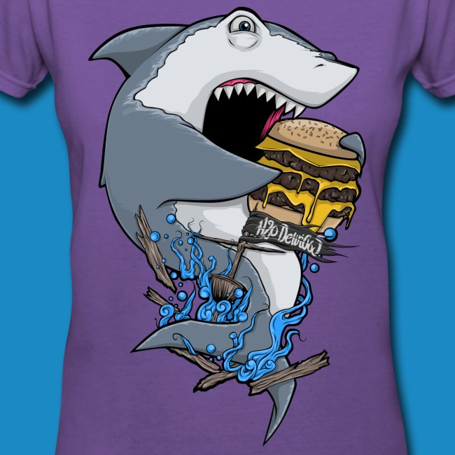 Hungry Shark Womens V Neck