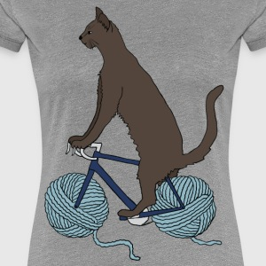 cat riding bike with yarn ball wheels Women's T-Shirts - Women's Premium T-Shirt