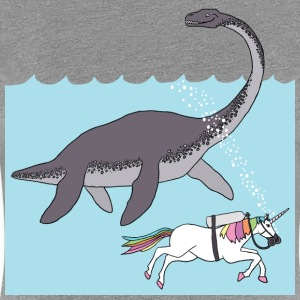 unicorn swimming with loch ness monster Women's T-Shirts - Women's Premium T-Shirt