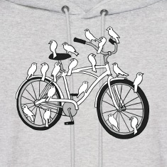 bird bike with white doves Hoodies