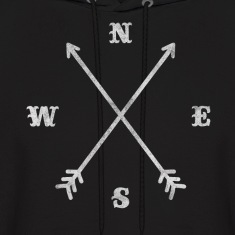 Hipster compass / crossed arrows / retro look Hoodies