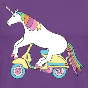 unicorn riding motor scooter T-Shirts - Men's Premium T-Shirt