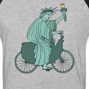 statue of liberty riding USA bike T-Shirts - Baseball T-Shirt