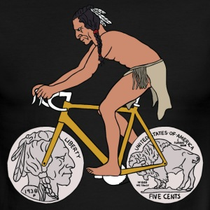 native american riding bike with buffalo head coin T-Shirts - Men's Ringer T-Shirt