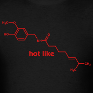 Design ~ YellowIbis.com 'Chemical Structures' Men's / Unisex Standard T-Shirt: Hot like capsaicin (Black)