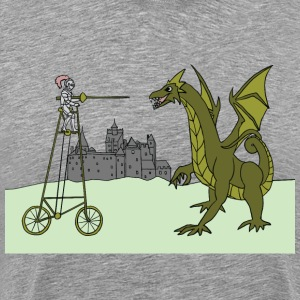 tall bike rider slaying dragon T-Shirts - Men's Premium T-Shirt