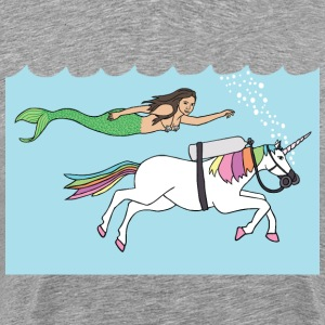 mermaid swimming with unicorn T-Shirts - Men's Premium T-Shirt