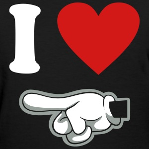 i heart couple pointing left - Women's T-Shirt