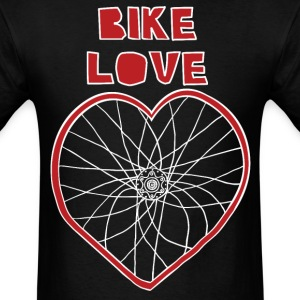 bike love red rim white spokes T-Shirts - Men's T-Shirt