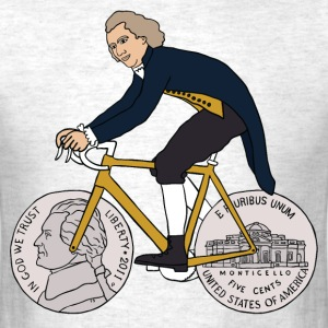 thomas jefferson riding bike with nickel wheels T-Shirts - Men's T-Shirt
