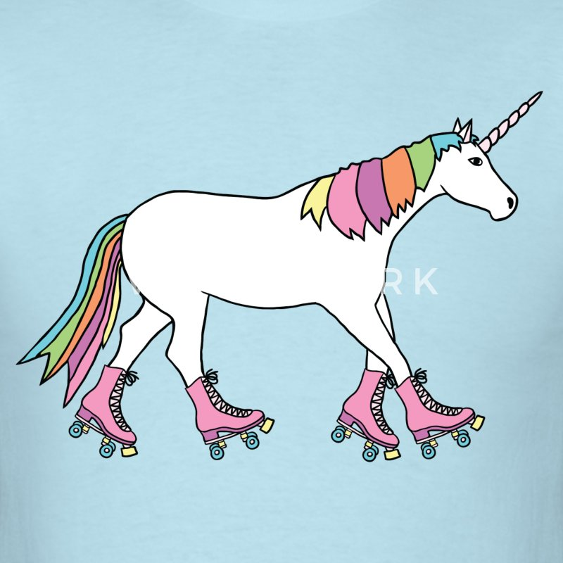 unicorn with roller skates T-Shirts - Men's T-Shirt