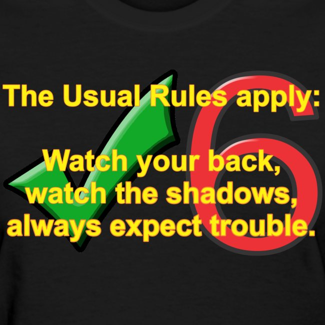 Check Six Usual Rules f blk