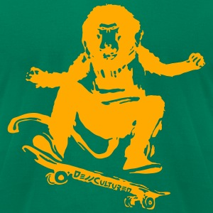 De//Cultured - Baboon Skater - Men's Tee - Neon Or - Men's T-Shirt by American Apparel