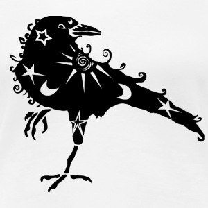 Women's Premium T-Shirt, White, Cosmic Crow - Women's Premium T-Shirt