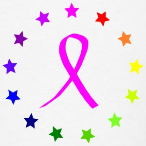 Cancer Awareness Ribbon with rainbow stars - Men's T-Shirt