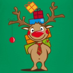 A reindeer with gifts and a Christmas ball Kids' Shirts