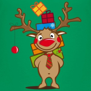 A reindeer with gifts and a Christmas ball Kids' Shirts - Kids' Premium T-Shirt