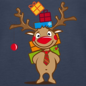 A reindeer with gifts and a Christmas ball Tanks - Women's Premium Tank Top