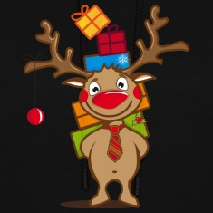 A reindeer with gifts and a Christmas ball Hoodies