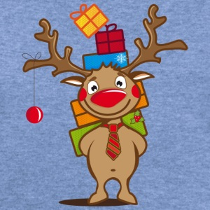 A reindeer with gifts and a Christmas ball Long Sleeve Shirts - Women's Wideneck Sweatshirt