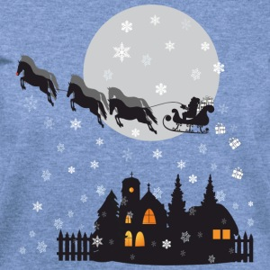 Santa Claus with Horses Long Sleeve Shirts - Women's Wideneck Sweatshirt