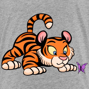 Baby Tiger with Butterfly Kids' Shirts - Kids' Premium T-Shirt