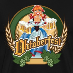 Oktoberfest - Cartoon Pin-up Red Headed German Bee T-Shirts - Men's Premium T-Shirt