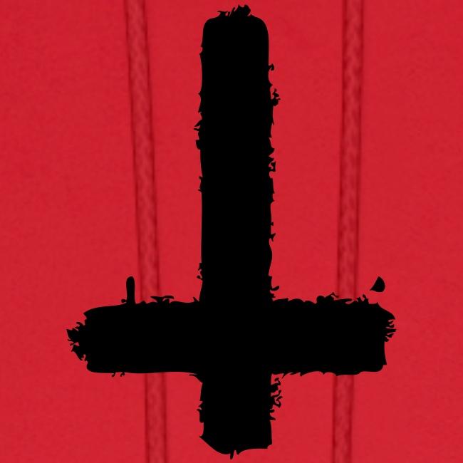 Inverted cross on red hoodie