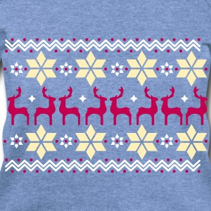 Poinsettia pattern and reindeer pattern  Long Sleeve Shirts - Women's Wideneck Sweatshirt