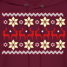 Poinsettia pattern and reindeer pattern  Hoodies