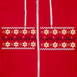 Poinsettia pattern and reindeer pattern  Zip Hoodies & Jackets - Unisex Fleece Zip Hoodie by American Apparel