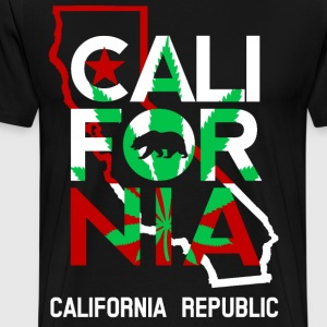 California Outline Weed Overlay - Men's Premium T-Shirt