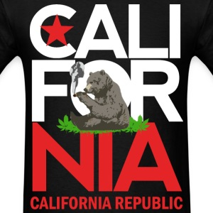 California Republic Smoking Bear - Men's T-Shirt
