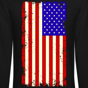 Distressed USA Flag Long Sleeve Shirts - Crewneck Sweatshirt