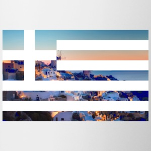 Santorini ft. Greece flag Mugs & Drinkware - Coffee/Tea Mug
