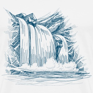 sketch waterfall and rocks - Men's Premium T-Shirt