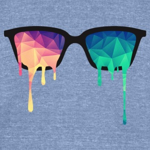 Abstract Psychedelic Nerd Glasses with Color Drops T-Shirts - Unisex Tri-Blend T-Shirt by American Apparel